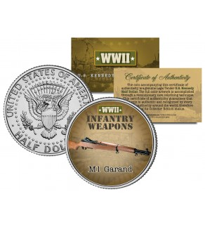 M1 GARAND - WWII Infantry Weapons - JFK Kennedy Half Dollar U.S. Coin