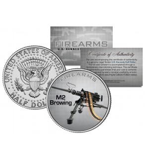 M2 BROWING Gun Firearm JFK Kennedy Half Dollar US Colorized Coin
