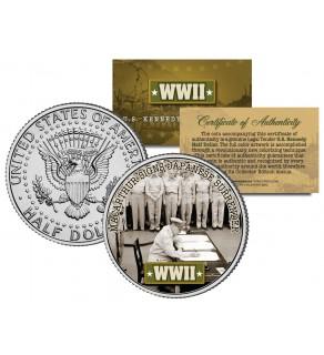 World War II - MACARTHUR SIGNS JAPANESE SURRENDER - JFK Kennedy Half Dollar US Coin