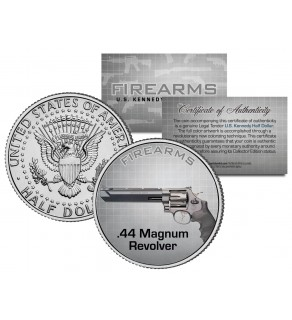 .44 MAGNUM REVOLVER Gun Firearm JFK Kennedy Half Dollar US Colorized Coin