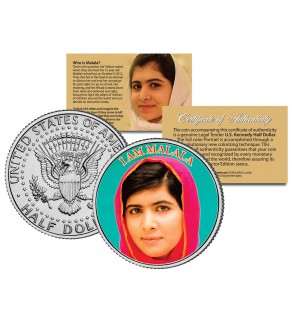 "Malala Yousafzai "" I AM MALALA "" JFK Kennedy Half Dollar US Colorized Coin"