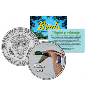 "MALLARD DUCK "" In Flight "" Collectible Birds JFK Kennedy Half Dollar Colorized US Coin"