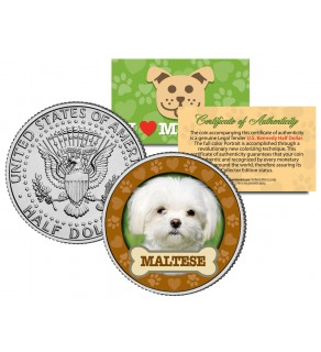 MALTESE Dog JFK Kennedy Half Dollar U.S. Colorized Coin