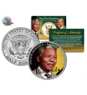 "NELSON MANDELA - Father of the Nation - "" Portrait "" JFK Kennedy Half Dollar US Coin"