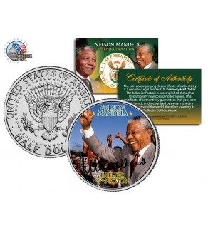 "NELSON MANDELA - Father of the Nation - "" Victory "" JFK Kennedy Half Dollar US Coin"