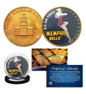 1976 Bicentennial JFK Kennedy Half Dollar - WW II MEMPHIS BELLE - 24K Gold Plated Coin