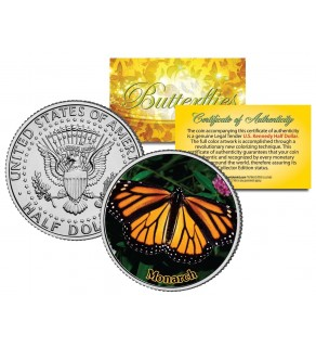 MONARCH BUTTERFLY JFK Kennedy Half Dollar U.S. Colorized Coin
