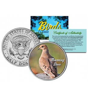 MOURNING DOVE Collectible Birds JFK Kennedy Half Dollar Colorized US Coin