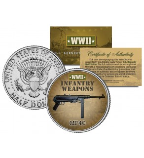 MP40 - WWII Infantry Weapons - JFK Kennedy Half Dollar U.S. Coin