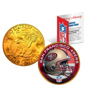 SAN FRANCISCO 49ERS NFL 24K Gold Plated IKE Dollar US Colorized Coin - Officially Licensed