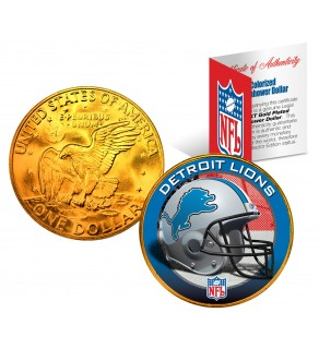 DETROIT LIONS NFL 24K Gold Plated IKE Dollar US Colorized Coin - Officially Licensed