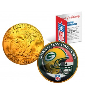 GREEN BAY PACKERS NFL 24K Gold Plated IKE Dollar US Colorized Coin - Officially Licensed