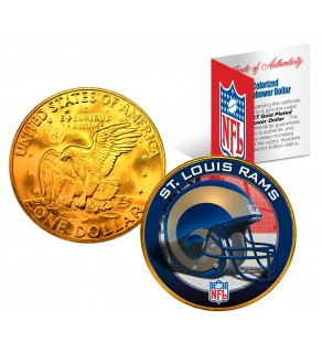 ST. LOUIS RAMS NFL 24K Gold Plated IKE Dollar US Colorized Coin - Officially Licensed