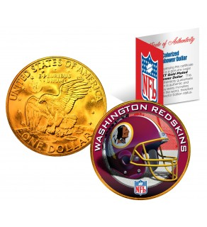 WASHINGTON REDSKINS NFL 24K Gold Plated IKE Dollar US Colorized Coin - Officially Licensed