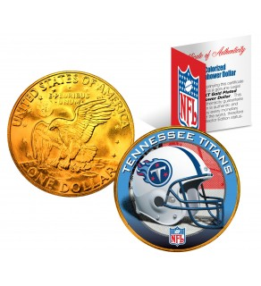 TENNESSEE TITANS NFL 24K Gold Plated IKE Dollar US Colorized Coin - Officially Licensed