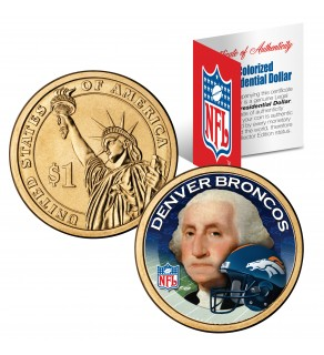 DENVER BRONCOS NFL Presidential $1 Dollar US Colorized Coin - Officially Licensed