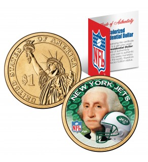 NEW YORK JETS NFL Presidential $1 Dollar US Colorized Coin - Officially Licensed