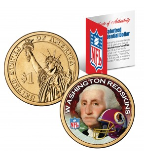 WASHINGTON REDSKINS NFL Presidential $1 Dollar US Colorized Coin - Officially Licensed