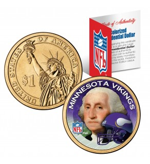 MINNESOTA VIKINGS NFL Presidential $1 Dollar US Colorized Coin - Officially Licensed