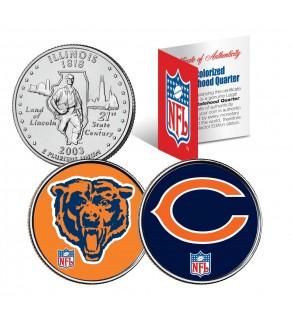 CHICAGO BEARS - Retro & Team Logo - Illinois Quarters 2-Coin U.S. Set - NFL Officially Licensed