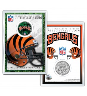 CINCINNATI BENGALS Field NFL Colorized JFK Kennedy Half Dollar U.S. Coin w/4x6 Display