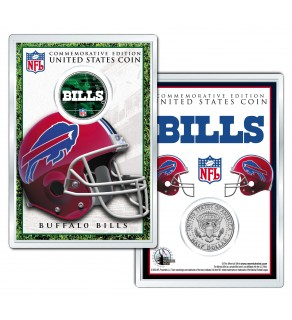 BUFFALO BILLS Field NFL Colorized JFK Kennedy Half Dollar U.S. Coin w/4x6 Display