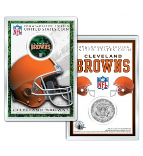 CLEVELAND BROWNS Field NFL Colorized JFK Kennedy Half Dollar U.S. Coin w/4x6 Display