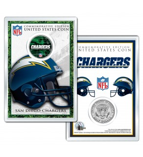 SAN DIEGO CHARGERS Field NFL Colorized JFK Kennedy Half Dollar U.S. Coin w/4x6 Display