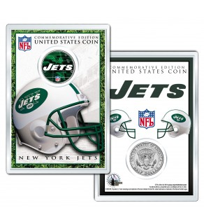 NEW YORK JETS Field NFL Colorized JFK Kennedy Half Dollar U.S. Coin w/4x6 Display