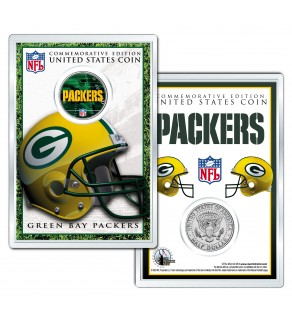 GREEN BAY PACKERS Field NFL Colorized JFK Kennedy Half Dollar U.S. Coin w/4x6 Display