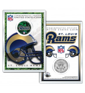 ST. LOUIS RAMS Field NFL Colorized JFK Kennedy Half Dollar U.S. Coin w/4x6 Display