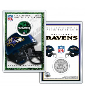 BALTIMORE RAVENS Field NFL Colorized JFK Kennedy Half Dollar U.S. Coin w/4x6 Display