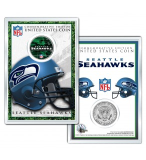 SEATTLE SEAHAWKS Field NFL Colorized JFK Kennedy Half Dollar U.S. Coin w/4x6 Display