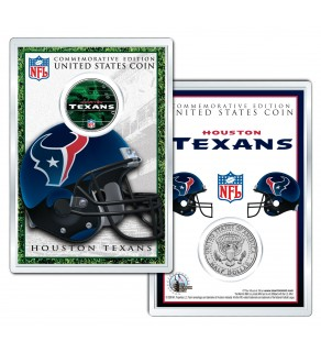 HOUSTON TEXANS Field NFL Colorized JFK Kennedy Half Dollar U.S. Coin w/4x6 Display