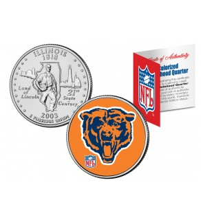 CHICAGO BEARS - Retro Logo - Illinois Quarter US Colorized Coin Football NFL - Officially Licensed