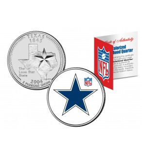 DALLAS COWBOYS - Retro Logo - Texas US Quarter Colorized Coin Football NFL - Officially Licensed