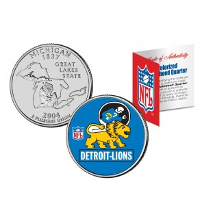 DETROIT LIONS - Retro Logo - Michigan Quarter US Colorized Coin Football NFL - Officially Licensed