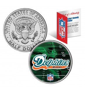 MIAMI DOLPHINS Field JFK Kennedy Half Dollar US Colorized Coin - NFL Licensed