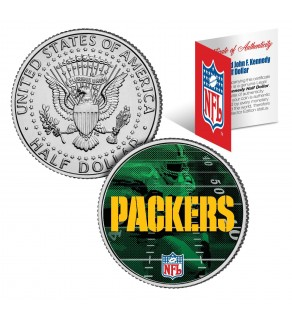 GREEN BAY PACKERS Field JFK Kennedy Half Dollar US Colorized Coin - NFL Licensed
