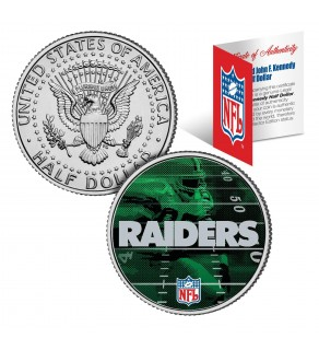 OAKLAND RAIDERS Field JFK Kennedy Half Dollar US Colorized Coin - NFL Licensed