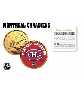 MONTREAL CANADIENS NHL Hockey 24K Gold Plated Canadian Quarter Colorized Coin - Officially Licensed