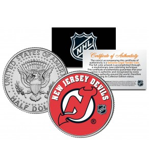 NEW JERSEY DEVILS NHL Hockey JFK Kennedy Half Dollar U.S. Coin - Officially Licensed
