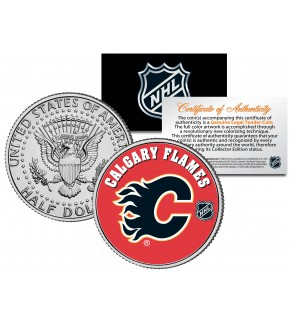 CALGARY FLAMES NHL Hockey JFK Kennedy Half Dollar U.S. Coin - Officially Licensed