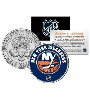 NEW YORK ISLANDERS NHL Hockey JFK Kennedy Half Dollar U.S. Coin - Officially Licensed