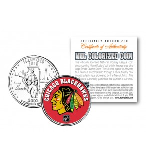 CHICAGO BLACKHAWKS NHL Hockey Illinois Statehood Quarter U.S. Colorized Coin - Officially Licensed