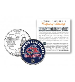 COLUMBUS BLUE JACKETS NHL Hockey Ohio Statehood Quarter U.S. Colorized Coin - Officially Licensed