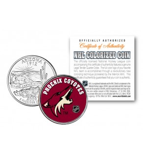 PHOENIX COYOTES NHL Hockey Arizona Statehood Quarter U.S. Colorized Coin - Officially Licensed