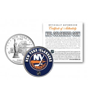 NEW YORK ISLANDERS NHL Hockey New York Statehood Quarter U.S. Colorized Coin - Officially Licensed