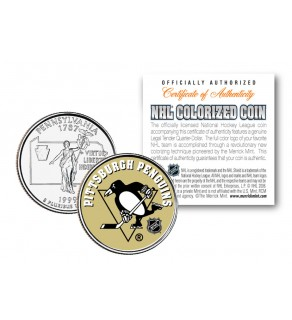 PITTSBURGH PENGUINS NHL Hockey Pennsylvania Statehood Quarter U.S. Colorized Coin - Officially Licensed