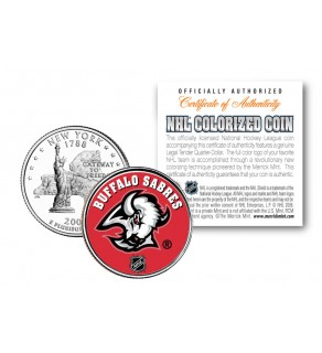 BUFFALO SABRES NHL Hockey New York Statehood Quarter U.S. Colorized Coin - Officially Licensed